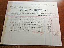 ANTIQUE - J. HENRY HAGGERTY - RAILWAY STEAMSHIP SUPPLIES - NY - 1897  BILLHEAD