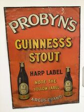 More details for rare vintage probyns guinness stout advertising sign tin sign