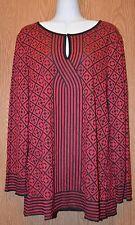 Womens Red & Black Studio M Long Sleeve Shirt Size Medium NWT NEW $78