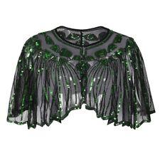 Women 1920s Shawl Wrap Art Deco Sequin Bead Evening Cape Bolero Flapper Cover Up