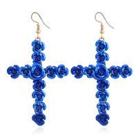 EG_ Women's Jewelry Elegant Flower Cross Long Drop Dangle Hook Earrings Utility