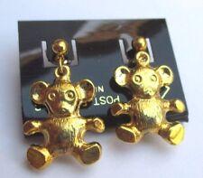 boucles d'oreilles percées couleur or  nounours en relief 3D sans nickel 2383