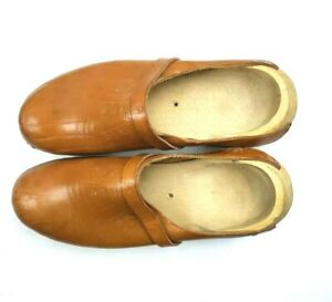 Mens 11.5 Shoes Wooden with Leather Upper Brown Tan Casual Homemade Carved