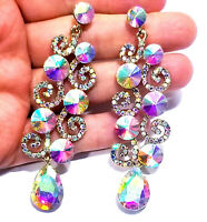 Chandelier Earrings Rhinestone AB Crystal 3.2 inch