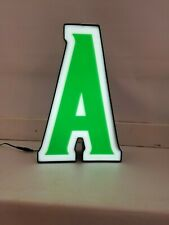 Letter A Retro Marquee Channel Letter A Vintage Sign Green Amp White Led