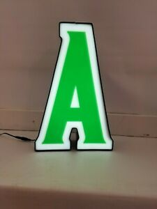 LETTER A Retro Marquee Channel Letter A Vintage Sign Green & White LED