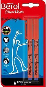 Berol Handwriting Pen Clip Cap Medium Nib 0.6mm - Blue Pack of 2
