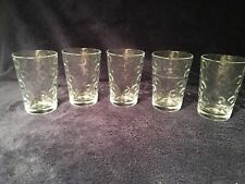 Set of 5 Clear Juice Drinking Glasses with circles or bubbles