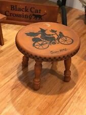 Halloween OOAK Witch's Vintage Style Distressed Wood Stool Seat Hand Painted HP