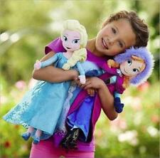 "Birthday Gift Idea 16"" Frozen Elsa & Anna Disney Princess Stuffed Plush 2x Doll"