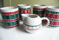 New listing Holiday Ceramic Coffee Mugs and Creamer Zibo International Set of 4 Christmas