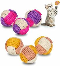 6PCS Cat Toy Sisal Ball Sisal Ball Pet Catch Ball Cat Toys With Bells For Pet