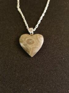 Petoskey Stone Heart Necklace, Small