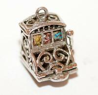 Rare Nuvo Opening Slot Machine Sterling Silver Vintage Bracelet Charm 3.2g