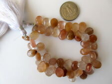 "8""12-15mm Natural Copper Gold Rutilated Quartz Pear Shaped Briolette Bead-GDS915"