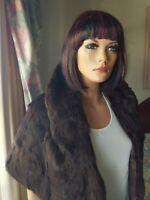Vintage Genuine Brown Rex Rabbit Fur Stole Shawl Wrap Jacket Coat Size 8-18