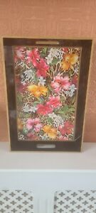 Zara Home Tropical Print Tray Scratched On Bottom Leopard Flower Black Tray Deco