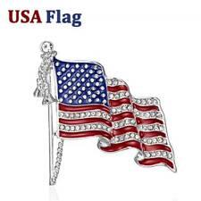 Pin Elegant Women Jewelry Gift Fashion American Flag Rhinestones Crystal Brooch