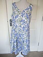 BNWT TU BLUE WHITE GREEN PARASOL PRINT COTTON FIT & FLARE KNEE DRESS UK 16 £22