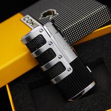 COHIBA Silver&Black Gridding Stripes Jet Flame Cigarette Cigar Lighter W/Punch