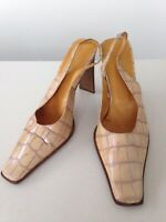 WOMENS DUE PASSI ITALY HIGH HEEL BROWN BEIGE SLING BACK CASUAL SHOES UK 5 EU 38