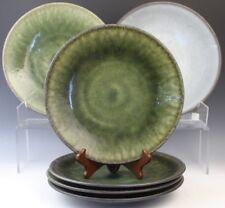 """6 Pc Signed Jars France Samoa Vert Green Art Pottery 10.5"""" Dinner Plate Set"""