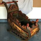 Original Hand Painted, Hand Carved Russian Antique Sleigh in Excellent Condition