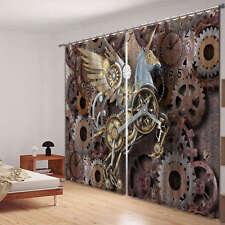 Old Gearwheel Clock 3D Blockout Photo Mural Printing Curtain Draps Fabric Window