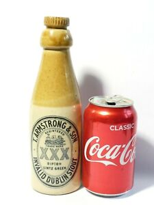 Armstrong Dipton Stone XXX Invalid Stout Bottle + Stopper a/f cracked #4