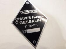 Typenschild Simca CG Schild id-plate Carrosserie Chappe freres Gessalin S6