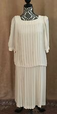 14 In the Mood pleated dropped waist dress ivory dress vintage  wedding