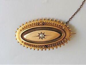 Antique 15ct Diamond Locket Brooch