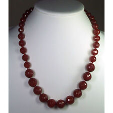 Faceted Natural Carnelian Stone Necklace with 14kt Gold Clasp-Knotted
