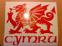 "medium 11"" wales welsh dragon vinyl car bonnet side sticker wall art decal cymru"