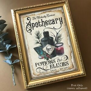 Halloween Apothecary Sign Party Decor Wall Art UNFRAMED Home Decoration Gothic