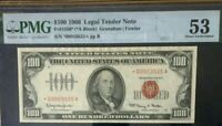 1966 $100 PMG 53 ABOUT UNCIRCULSATED, LEGAL TENDER * ((STAR NOTE)) * RED SEAL