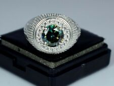 3.95 Ct Certified Green Diamond Solitaire Men's Band Ring
