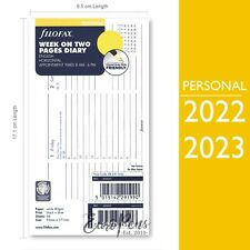 Filofax 2022 2023 Personal Week On Two Appts Horizontal Diary Refill 68420