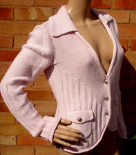 Heine Baby Pink Collared Cardigan / Knitted Jacket Size 12 New With Tags