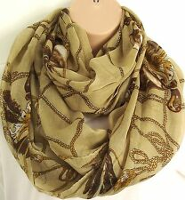 Oversized Jewel Tassle Print Circle Loop Infinity Scarf Snood - Autumn Colours