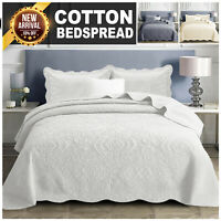Cotton Bedspread Embroidered Bedding Set Quilted Bed Throw Single Double King