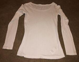 AllSaints White Long Sleeve Fine Jersey Top Size UK XS
