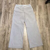 Express Design Studio Wide Leg Pants ~ Sz 10 ~ Beige ~ Mid Rise ~ Striped