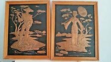 2 panels sculpted sculpture Asia Chine copper, cuivre