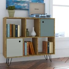 Vintage Display Unit Industrial Side Cabinet Small Bookcase Storage Metal Leg