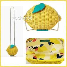 Kate Spade Lemon Crossbody Bag Purse Wicker Picnic Yellow
