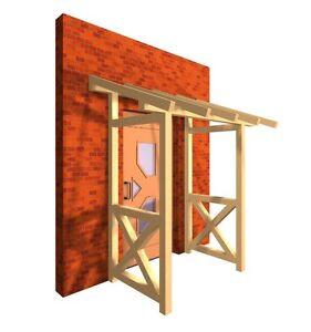 Haustürvordach Pultdach Holz Tür KVH Türüberdachung Haustür Regenschutz Garten
