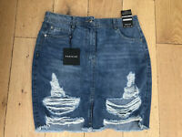 NEW PARISIAN Size UK 12 EU40 US8 Mid Blue Distressed Ripped Denim Skirt Layla