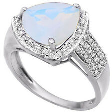 LOVELY 3.09 CTW GENUINE DIAMOND & CREATED FIRE OPAL IN 925 STERLING SILVER RING