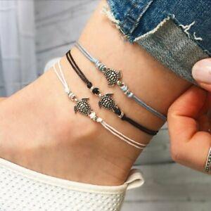 3Pcs Boho Retro Turtle Pendant Anklet Bracelet Leather Women Foot Beach Jewelry